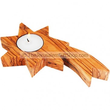 Star of Bethlehem Olive Wood Candle Holder