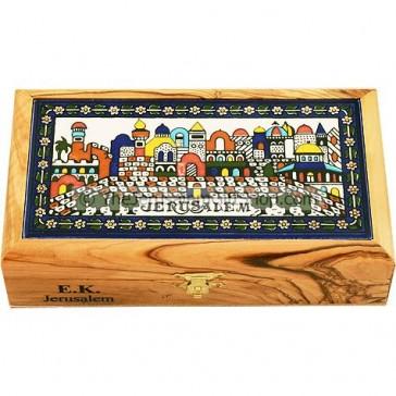 Tiled Olive Wood Jerusalem Box