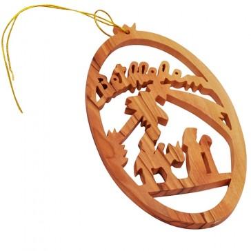 Christmas Tree Bethlehem Olive Wood Decoration