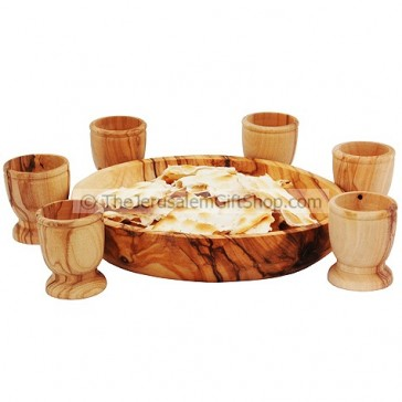 Communion Bread Plate and Six Olive Wood Cups