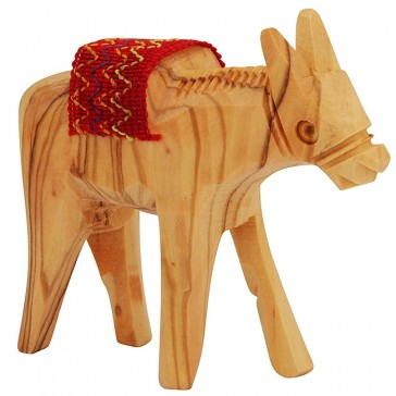 Olive Wood Donkey with Embroidered Sadle - Made in Bethlehem