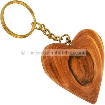 Olive Wood Heart Keyring