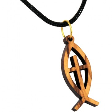 Olive Wood Cut-Out ΙΧΘΥΣ - Ichthys / Ichthus Fish with Cross Pendant with Necklace