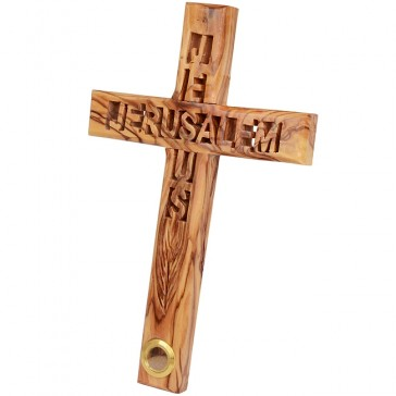 Olive Wood Cross with 'Jesus Jerusalem' cutout and Holy Land Earth in vial at foot of the Cross