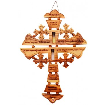 'The Lord's Prayer' Engraved Olive Wood Cross Wall Hanging with Oil, Water and Incense