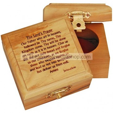 Small Olive Wood The Lord's Prayer Box