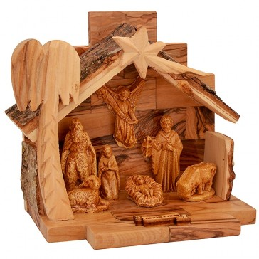 Nativity Scene - Mary Joseph and Jesus - Bethlehem Olive Wood - 6.5 inch