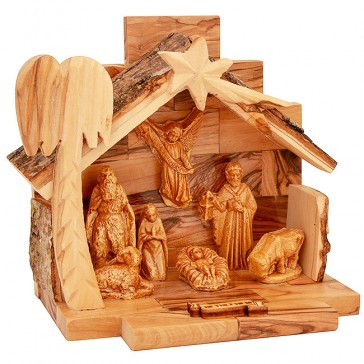 Nativity Scene - Olive Wood Bethlehem - front