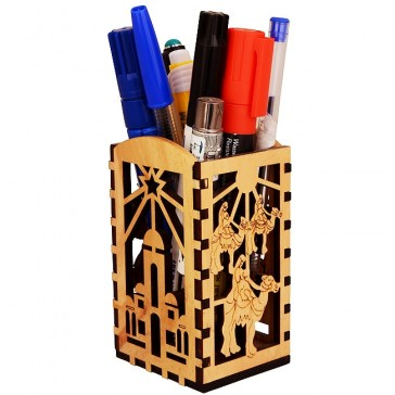 Olive Wood Biblical Bethlehem Scenes Desktop Office Organizer