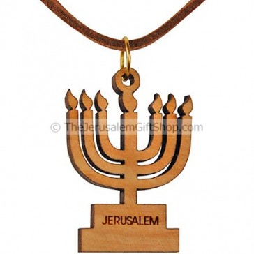 Olive wood Menorah Pendant