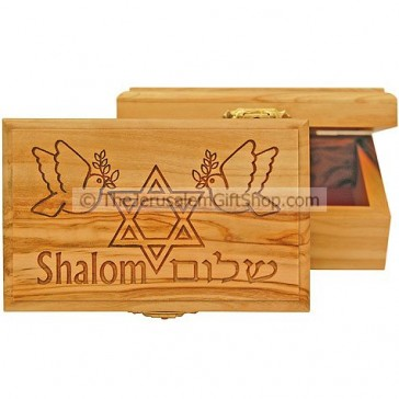 Medium sized Shalom Star of David Olive Wood Box