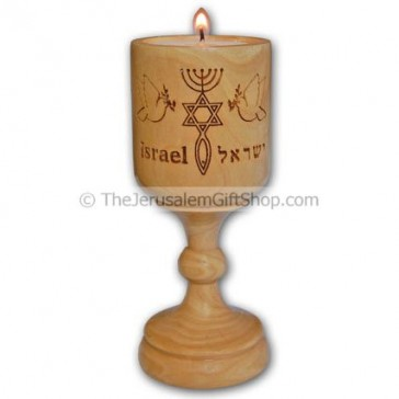 Olive Wood Candlestick Messianic