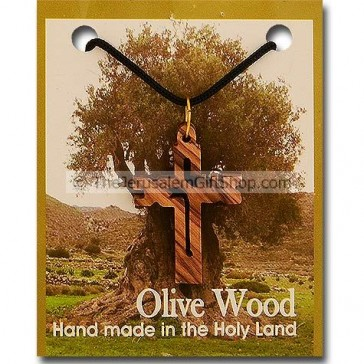 Olive Wood Jesus Cross Pendant with Necklace