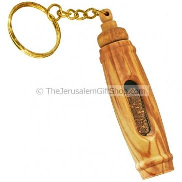 Olive Wood Keychain - Holy Land Soil