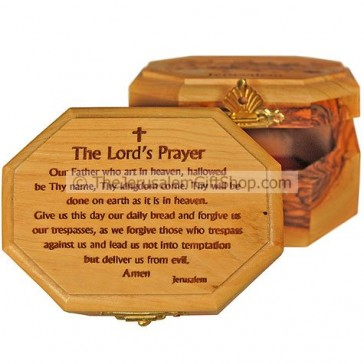 Hexagon shaped Olive Wood Box - Lord's Prayer