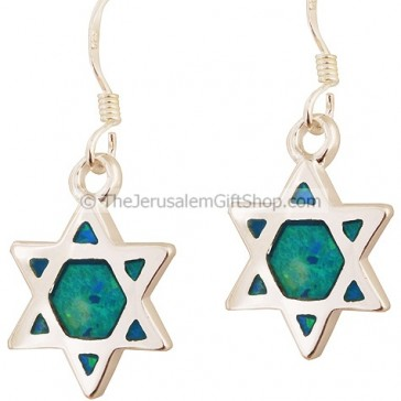 Silver Star of David Earrings with Opal