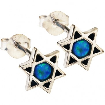 Opal Star of David - Sterling Silver Studs