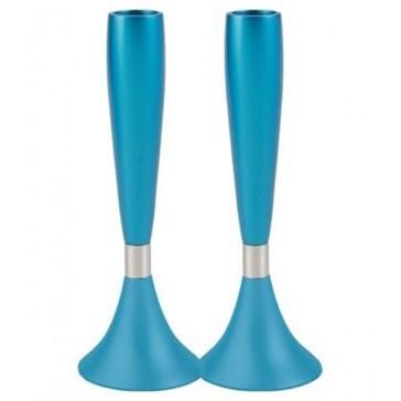 Yair Emanuel Modern Shabbat Anodized Aluminum Candle Holders - Turquoise (Large)