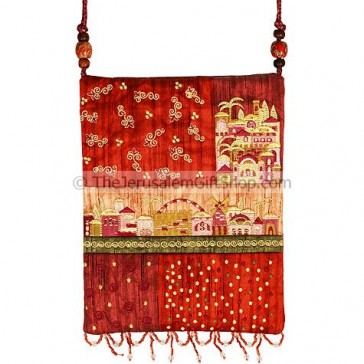 Patchwork Silk Embroidered Bag - Jerusalem - Red