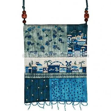 Patchwork Silk Embroidered Bag - Jerusalem - Blue