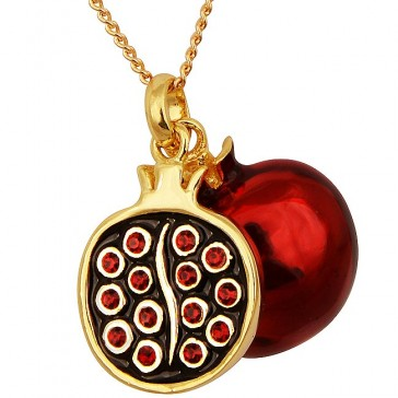 Goldfill Twin Split Pomegranate with Red Garnet Pendant by Marina
