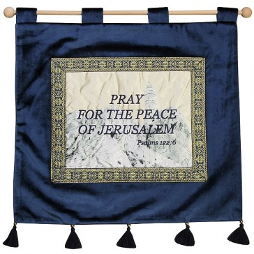 Pray for the peace of Jerusalem - Psalm 122:6 - Wall Hanging - Blue
