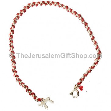 Red Cord with Silver 'Chai' Bracelet