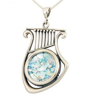 Roman Glass 'King David Harp' Sterling Silver Pendant