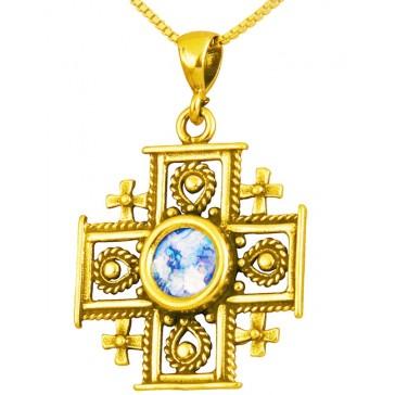Roman Glass 'Jerusalem Cross' Decorated Pendant - 14k Gold - Holy Land Jewelry