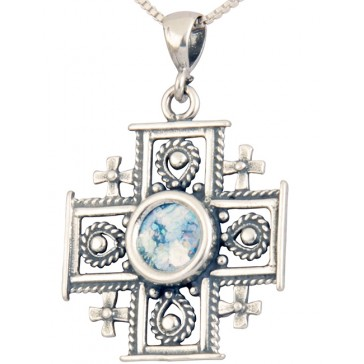 Roman Glass 'Jerusalem Cross' Decorated Pendant - 925 Sterling Silver - Holy Land Jewelry