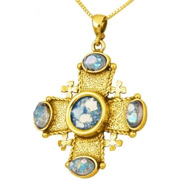 Roman Glass 'Jerusalem Cross' Stones Pendant - 14k Gold - Holy Land Jewelry