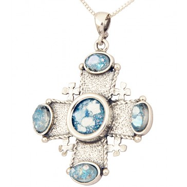 Roman Glass 'Jerusalem Cross' Stones Pendant - 925 Sterling Silver - Holy Land Jewelry