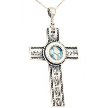 Roman Glass - Lattice 'Cross' Pendant - 925 Sterling Silver - Made in the Holy Land