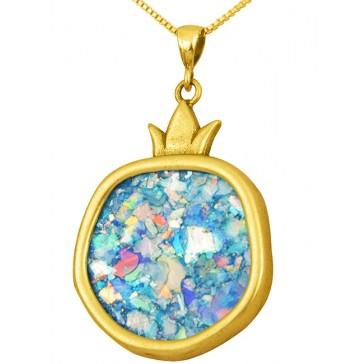 Roman Glass 'Pomegranate' Pendant - 14k Gold - Israeli Jewelry