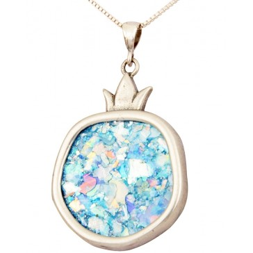 Roman Glass 'Pomegranate' Pendant - 925 Sterling Silver - Israeli Jewelry