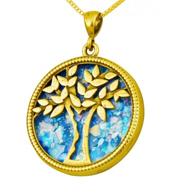 Roman Glass 'Tree of Life' Pendant - 14k Gold - Israeli Jewelry