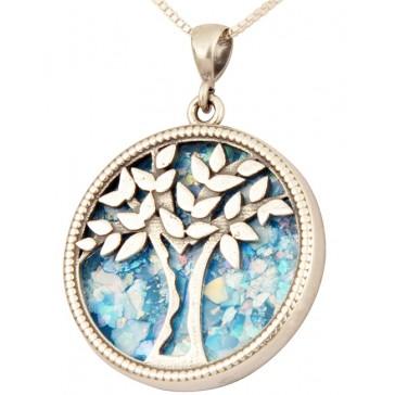 Roman Glass 'Tree of Life' Pendant - 925 Sterling Silver - Israeli Jewelry