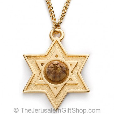 The Rose of Bethlehem Gold Star of David Necklace - closed
