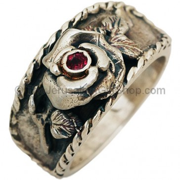 Rose of Sharon Sterling Silver Ring with a real Ruby