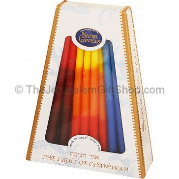 Hanukah Candles - Colored Smooth - Made in Israel by Safed Candles