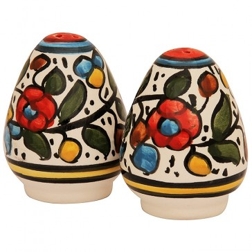 Armenian Ceramic Flowered 'Salt and Pepper' Pots - Handmade in Jerusalem