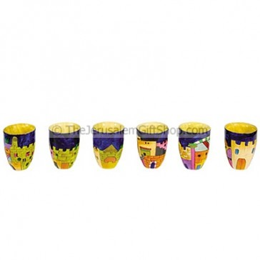 Set of Six Small Hand Painted Jerusalem Cups