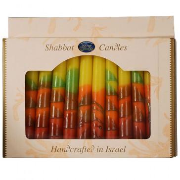 Safed Shabbat Candles - Sunset Red