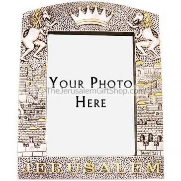 Silver 3D Jerusalem with Crown Photo Frame