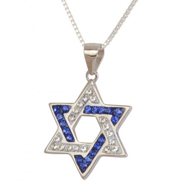 Star of David Embedded with 'Israel' Blue and White CZ stones - Sterling Silver Pendant