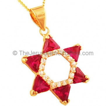Goldfill Star of David with Zircon and synthetic Ruby Pendant
