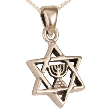 Sterling Silver Star of David with Menorah Pendant