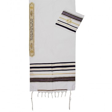 Prayer Shawl Tallit - Purple and Gold with Star of David Case