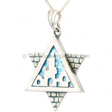 Jerusalem Roman Glass Star of David Pendant