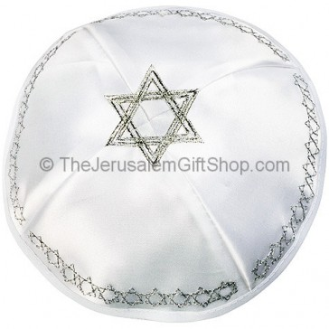 White with Silver trim 'Star of David' Kippah